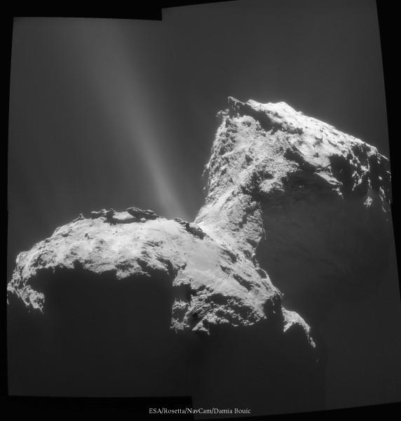 31 Janvier 2015 - Spectaculaire image de la comète, montrant des jets de gaz et de poussière très prononcés, avec une très bonne vue sur la région du cou. Admirez Churyumov-Gerasimenko dans toute sa complexité !