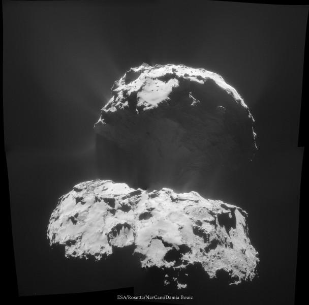 3 Février 2015 - Epoustouflante image de 67P envoyée par Rosetta, montrant des jets bien développés, une lueur qui éclaire la zone plongée dans l'ombre et la même ombre qui se projète dans les particules éjectées par la comète !