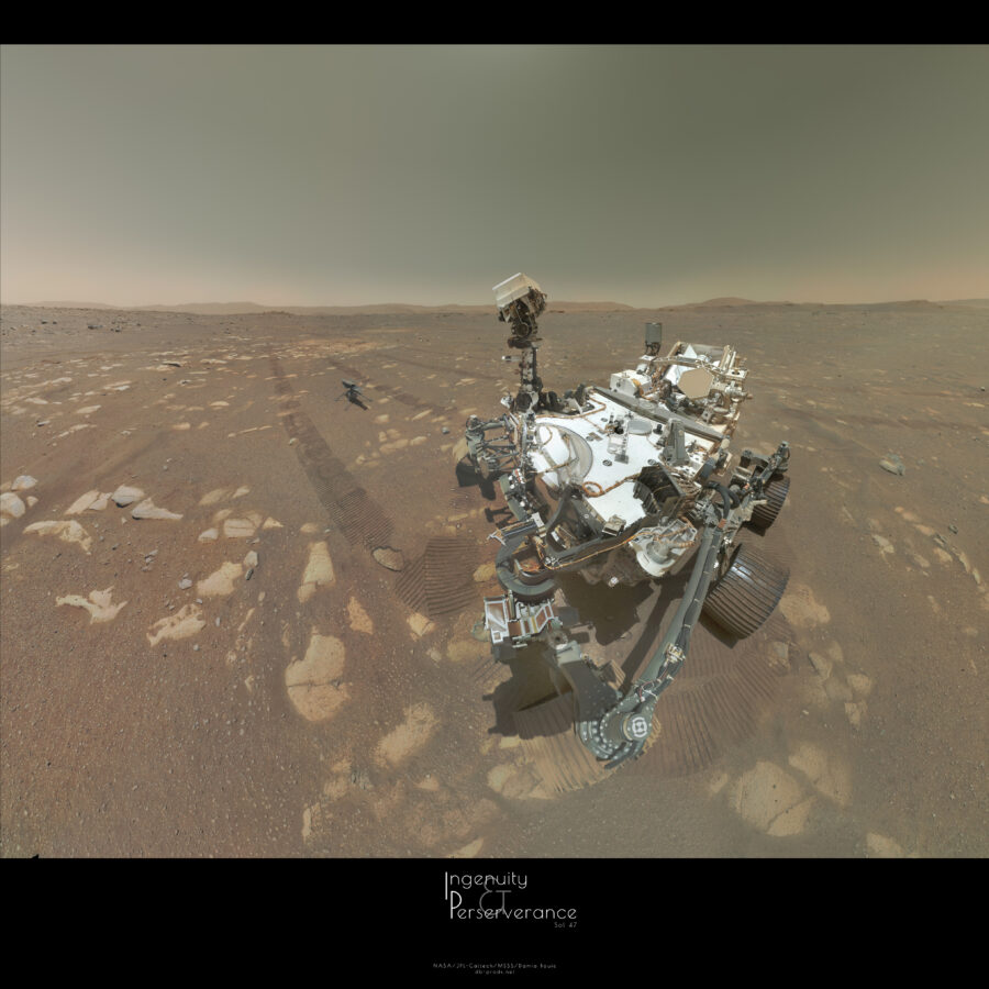 Square picture, with the first third occupied by the sky. The two other third are consisting of the whole rover body, with its head looking at a little drone, on the surface of Mars. This surface is smooth, with some rocks here and there. Horizon is sharp, with flat hills. Tracks of the rover are visible on the ground, behind the vehicle.