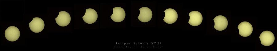 Plusieurs disques solaires, échancrés par la Lune, de plus en plus vers le milieu, et de moins en moins vers la droite